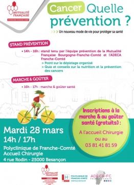 "Atelier ""Cancer, quelle prévention"" à la Polyclinique de Franche-Comté le 28 mars"